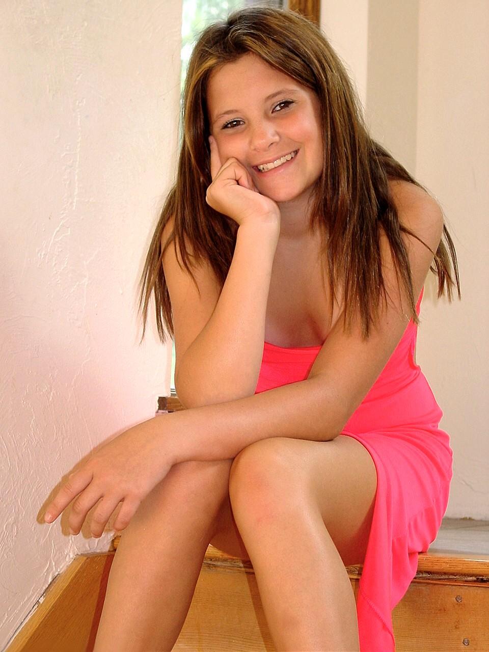 Haley teen model pink dress